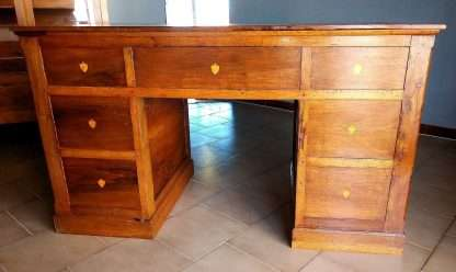 Ancient desk restored in walnut with seven drawers with retractable wardrobe